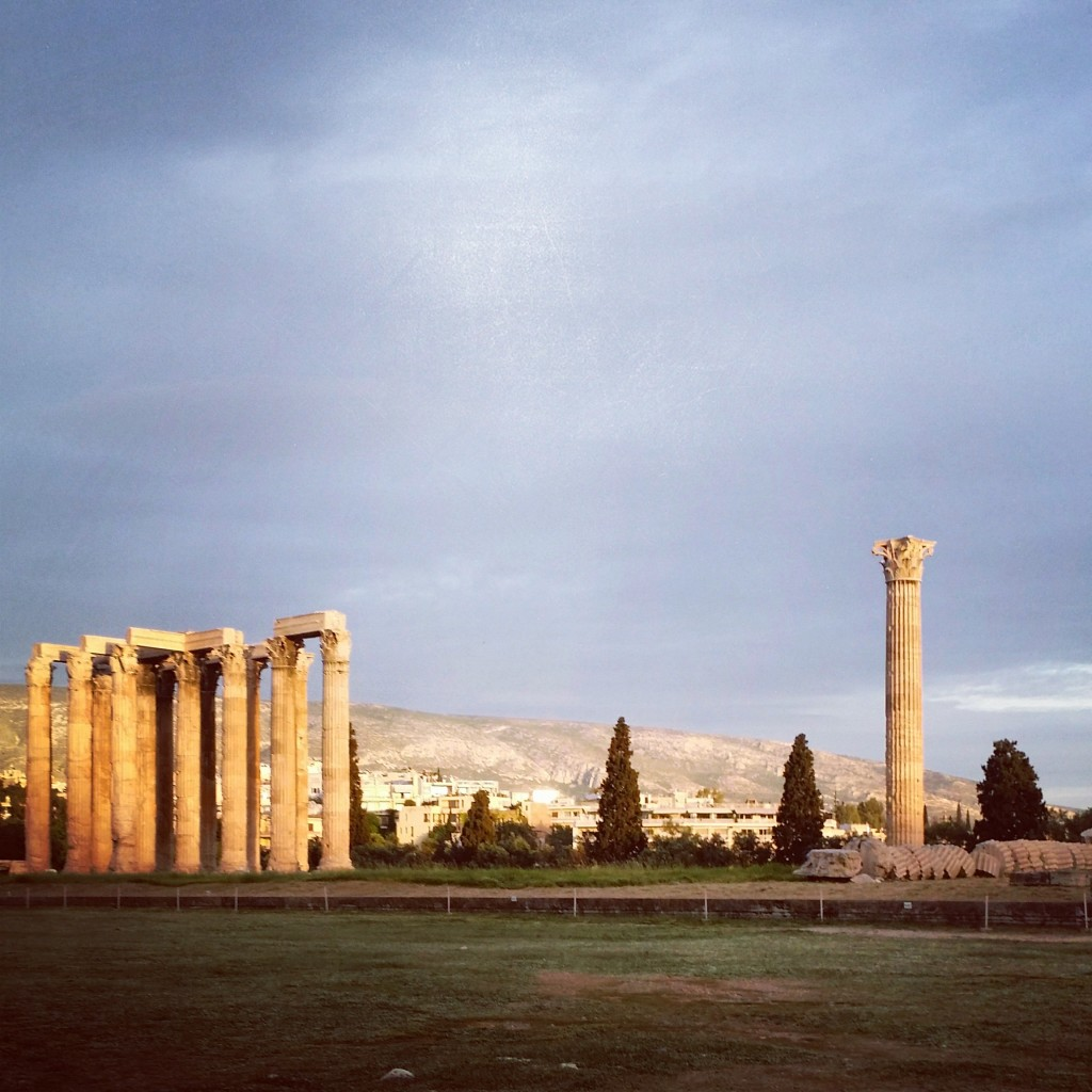 The Temple of Olympian Zeus in downtown Athens, Greece.